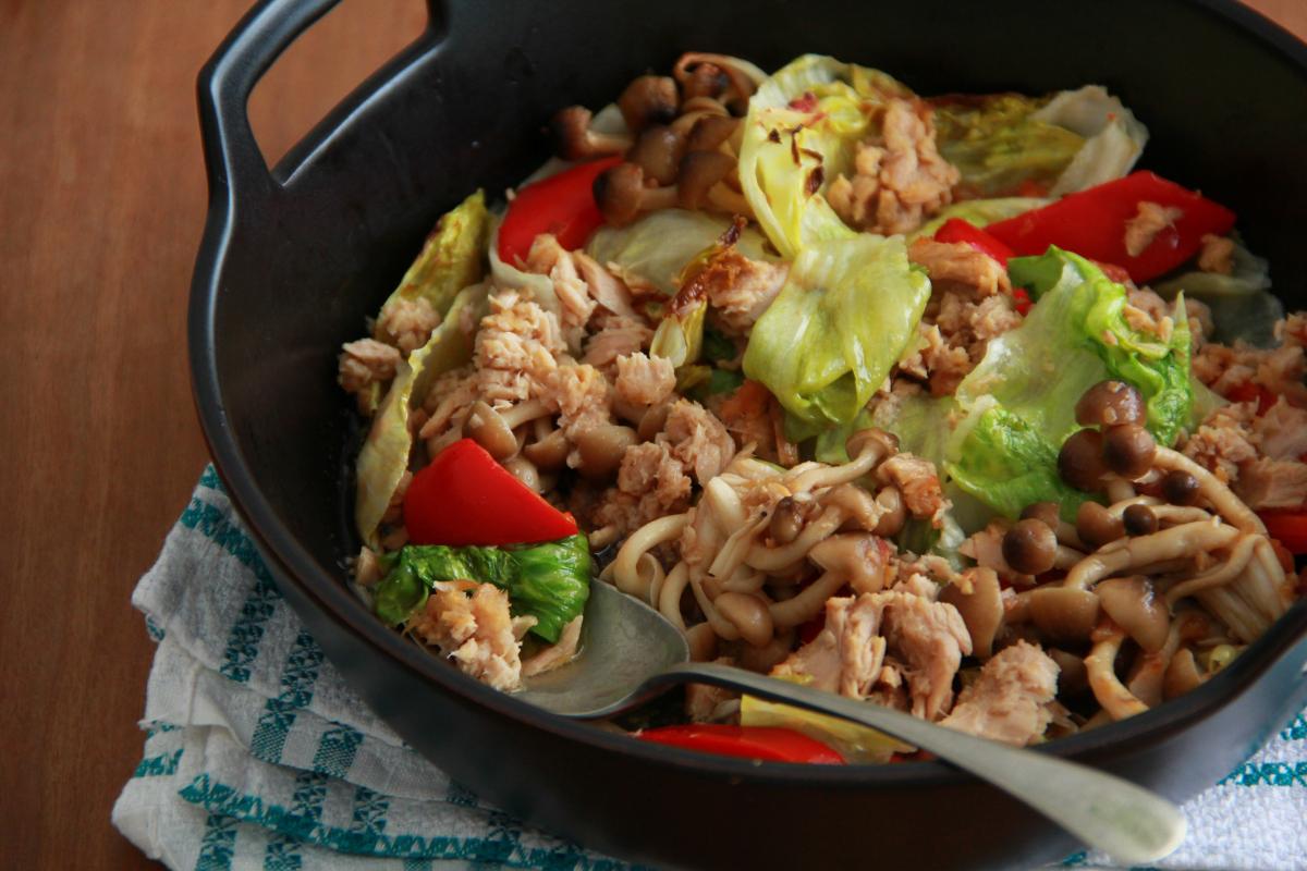 簡単オーブン料理 -ツナと野菜のオーブン焼き 梅にんにく風味-