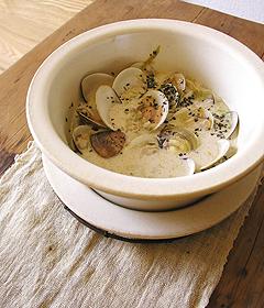 蛤と岩海苔のスープ風玄米リゾット